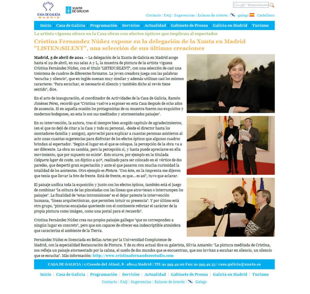 """""""LISTEN:SILENT"""" en la prensa, """"La Casa de Galicia"""""""